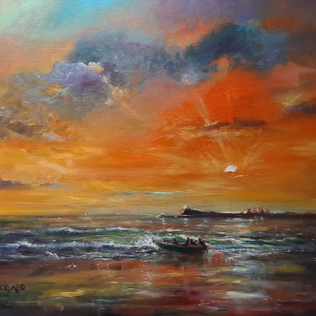 (CreativeWork) Sunrise at Mooloolaba Beach  by Wayne Strickland. Oil Paint. Shop online at Bluethumb.