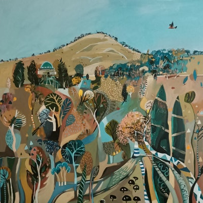 (CreativeWork) Abstract Landscape - A Whimsical Mount Ainslie by Susan Trudinger. Acrylic Paint. Shop online at Bluethumb.