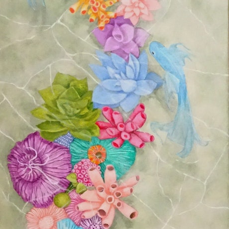 (CreativeWork) Tropical Pond by Julie-Anne Gatehouse. Acrylic Paint. Shop online at Bluethumb.