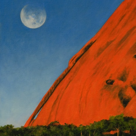 (CreativeWork) Moonrise Over Ayers Rock by Craig Taylor. Oil Paint. Shop online at Bluethumb.