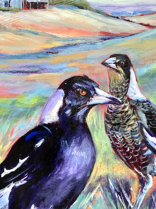 (CreativeWork) Magpie Family by Lyn Watts. Acrylic Paint. Shop online at Bluethumb.