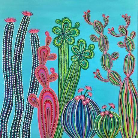 (CreativeWork) Cactus Party no.4 by Lisa Frances Judd. Acrylic Paint. Shop online at Bluethumb.