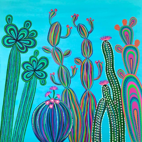 (CreativeWork) Cactus Party no.3 by Lisa Frances Judd. Acrylic Paint. Shop online at Bluethumb.