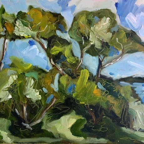 (CreativeWork) Feel the Breeze in the Trees  by Tym Yee. Oil Paint. Shop online at Bluethumb.