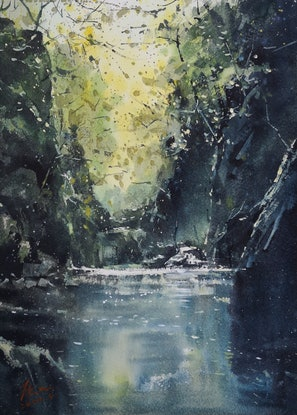 (CreativeWork) mountain creeks by jianqiang xu. Watercolour Paint. Shop online at Bluethumb.