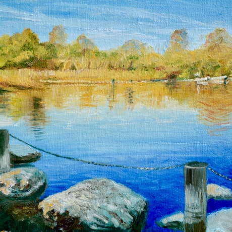 (CreativeWork) Afternoon at Alphington Quarry by Dai Wynn. Oil Paint. Shop online at Bluethumb.