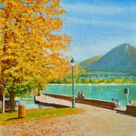 (CreativeWork) Annecy Lake in Autumn by Dai Wynn. Oil Paint. Shop online at Bluethumb.