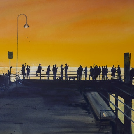 (CreativeWork) Sunset Serenade - Glenelg by Jill Rogers. Watercolour Paint. Shop online at Bluethumb.