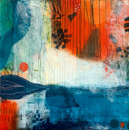 (CreativeWork) Tripping Over the Ocean by Amanda Ketterer. Mixed Media. Shop online at Bluethumb.