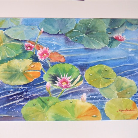 "(CreativeWork) ""Waterlilies with Koi Carp"" by Yvonne West. Watercolour Paint. Shop online at Bluethumb."