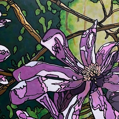 (CreativeWork) Loebner Magnolia by Ingrid Russell. Acrylic Paint. Shop online at Bluethumb.