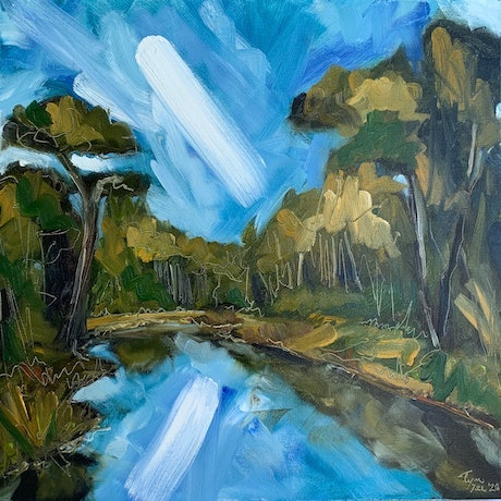 (CreativeWork) Bushland River  by Tym Yee. Oil Paint. Shop online at Bluethumb.