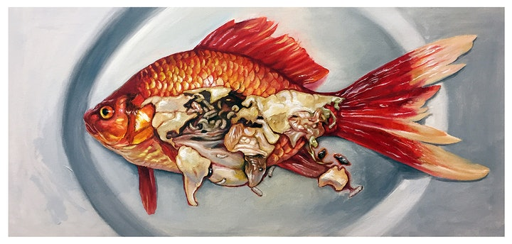 (CreativeWork) Fish on the plate by Carlos Cui. Oil Paint. Shop online at Bluethumb.