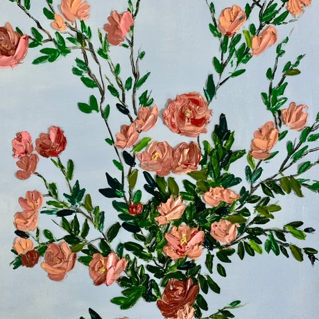 (CreativeWork) Bunch of roses by Anjana Rai. Oil Paint. Shop online at Bluethumb.