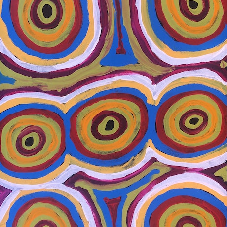 (CreativeWork) Kungkarangkalpa (Seven Sisters) 19-4242 by Nelly Patterson. Acrylic Paint. Shop online at Bluethumb.