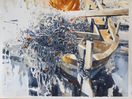 (CreativeWork) Fishing Boat by Tony Belobrajdic. Watercolour Paint. Shop online at Bluethumb.