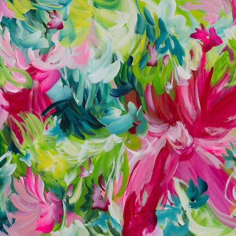 (CreativeWork) Pink Carnival by Amber Gittins. Acrylic Paint. Shop online at Bluethumb.