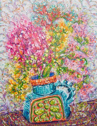 (CreativeWork) Charlene's Floral Blooms by Tina Dinte. Acrylic Paint. Shop online at Bluethumb.
