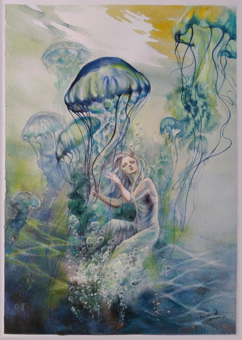 (CreativeWork) Harp Solo by Doudou Huang. Watercolour Paint. Shop online at Bluethumb.
