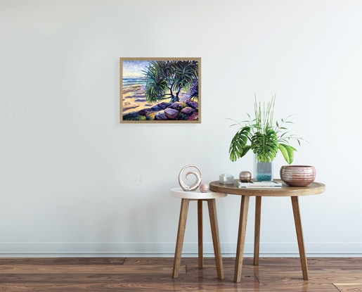 (CreativeWork) Happy Valley Sunlight by Michael Baker. Oil Paint. Shop online at Bluethumb.