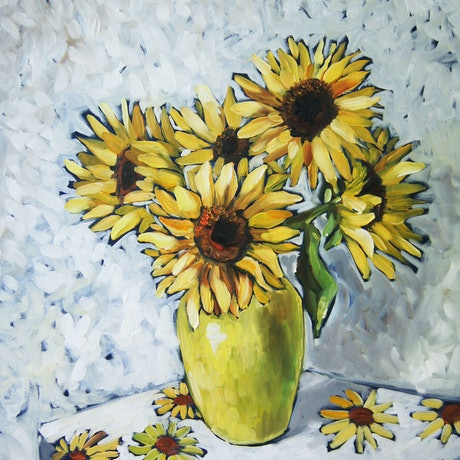 (CreativeWork) Sunflowers No. 5 by Katerina Apale. Oil Paint. Shop online at Bluethumb.