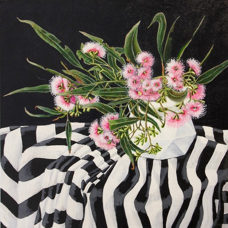 (CreativeWork) Pink gum blossom and stripes by Belinda Jeanes. Acrylic Paint. Shop online at Bluethumb.