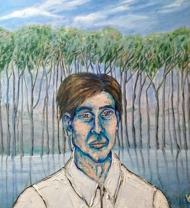 (CreativeWork) Man in nature by Wendy Glamocak. Oil. Shop online at Bluethumb.