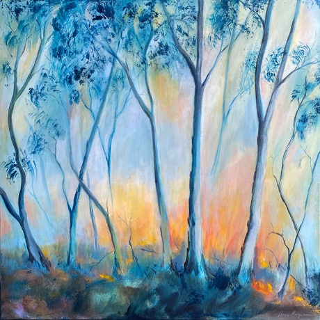 (CreativeWork) FLAME TREES by Ben Musgrove. Acrylic Paint. Shop online at Bluethumb.