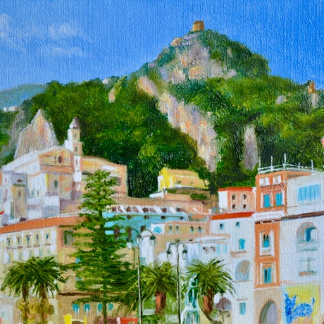 (CreativeWork) The Seafront of Amalfi, Southern Italy by Dai Wynn. Oil Paint. Shop online at Bluethumb.