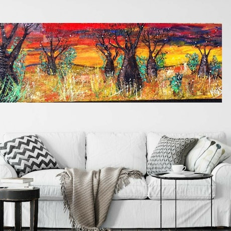(CreativeWork) Outback Sunset Australia  by Krissy McDougall. Acrylic Paint. Shop online at Bluethumb.