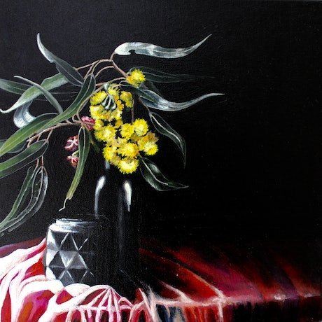 (CreativeWork) Yellow gum blossom by Belinda Jeanes. Acrylic Paint. Shop online at Bluethumb.