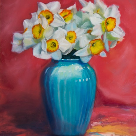 (CreativeWork) Daffodils by Elena Valerie. Oil. Shop online at Bluethumb.