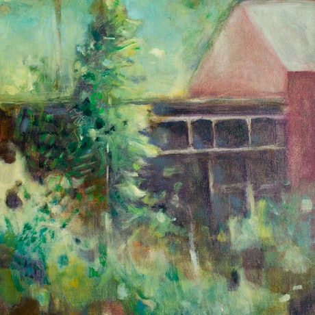 (CreativeWork) Garden view by Jennifer Prior. Oil Paint. Shop online at Bluethumb.
