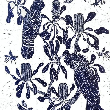 (CreativeWork) Cockatoo's and Candlesticks Lino print  Ed. 35 of 150 by Marinka Parnham. Print. Shop online at Bluethumb.