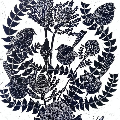 (CreativeWork) Fairy Wren and Banksia Lino print Ed. 38 of 100 by Marinka Parnham. Print. Shop online at Bluethumb.