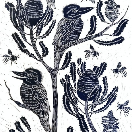 (CreativeWork) Kookaburra and Banksia Lino print Ed. 36 of 100 by Marinka Parnham. Print. Shop online at Bluethumb.