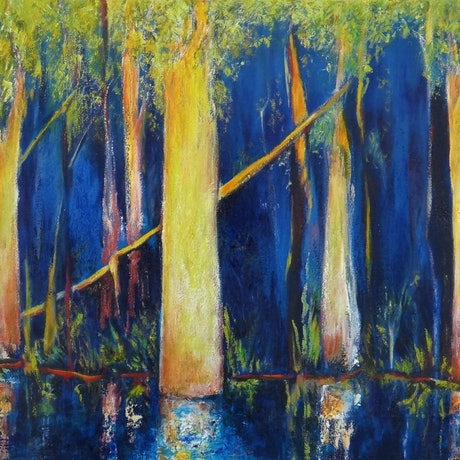 (CreativeWork) Midnight Blues  by Glenise Clelland. Oil Paint. Shop online at Bluethumb.