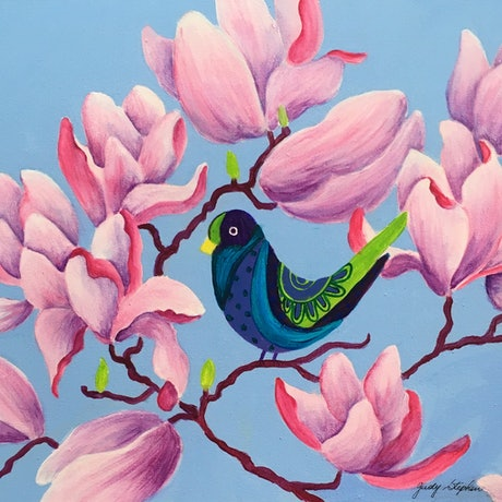 (CreativeWork) Blue Bird in the Magnolias  by Judy Stephen. Acrylic Paint. Shop online at Bluethumb.