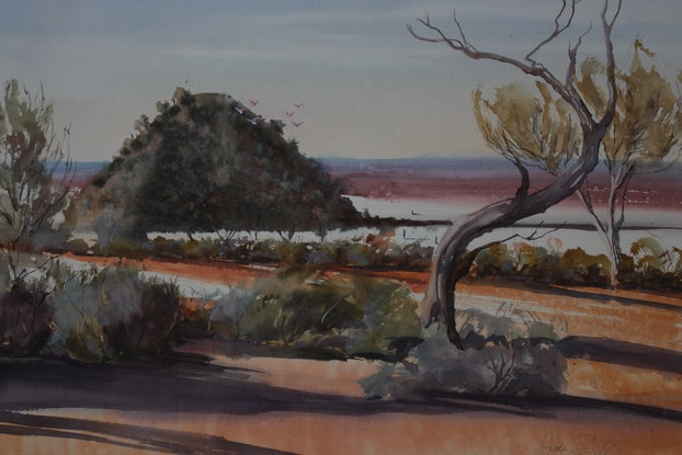(CreativeWork)  Lake Ballard Dreaming by Jude Scott. Watercolour Paint. Shop online at Bluethumb.