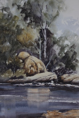 (CreativeWork) A River Somewhere by Jude Scott. Watercolour Paint. Shop online at Bluethumb.