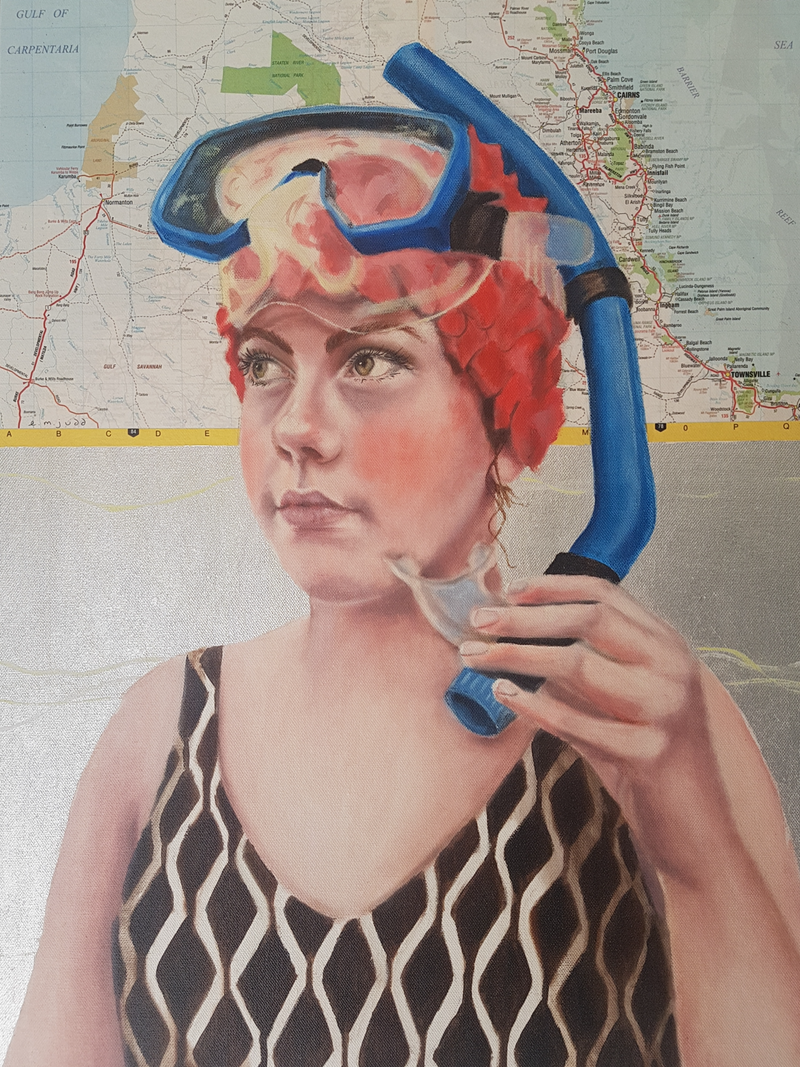 (CreativeWork) Snorkel Girl by Elise Judd. Mixed Media. Shop online at Bluethumb.