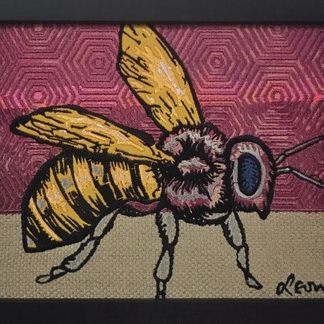 (CreativeWork) Bee (Rose Blush) by Leon Fernandes. Mixed Media. Shop online at Bluethumb.