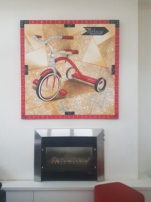 (CreativeWork) I Want To Ride My Tricycle by Elise Judd. Mixed Media. Shop online at Bluethumb.