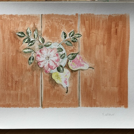 """(CreativeWork) """"Vintage Peach Rose with Pears"""" from the Rose Coloured Glass Series by Fran Max. Oil Paint. Shop online at Bluethumb."""