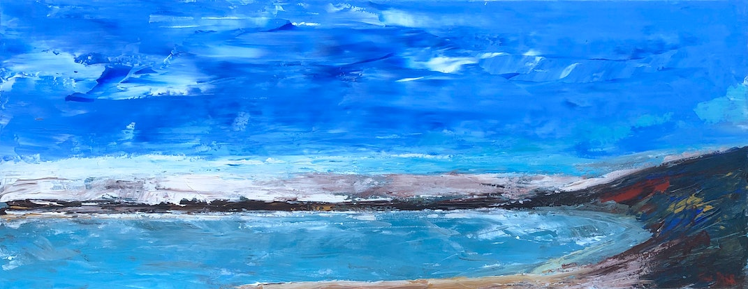 (CreativeWork) Blue Cove - seascape by Tina Barr. Acrylic Paint. Shop online at Bluethumb.