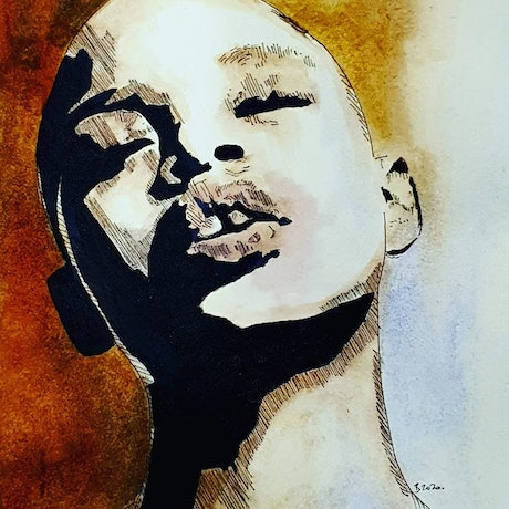 (CreativeWork) Simone Thompson| aka. Slick Woods by Rebecca lam. Watercolour Paint. Shop online at Bluethumb.