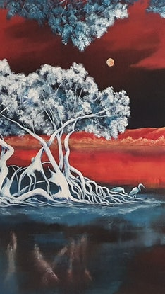 (CreativeWork) Nature in the moonlight. by Keir Jamieson. Acrylic Paint. Shop online at Bluethumb.