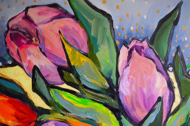 (CreativeWork) Still Life with Tulips and Leaves by Katerina Apale. Acrylic Paint. Shop online at Bluethumb.