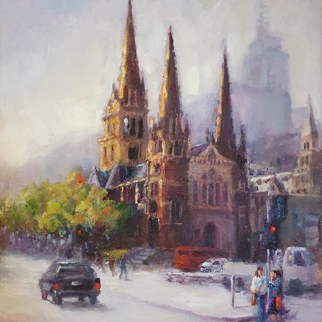 (CreativeWork) St Paul's Cathedral by Franciska Howard. Oil Paint. Shop online at Bluethumb.