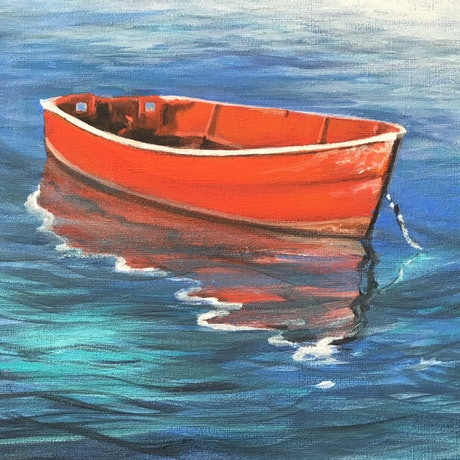 (CreativeWork) Up the Creek without a Paddle by Kathryn Johnston. Acrylic Paint. Shop online at Bluethumb.